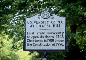 The State Historical marker for the University of North Carolina at Chapel Hill on McCorkle Place.